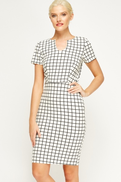 Check Grid Formal Dress
