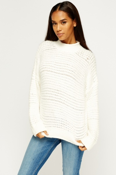 Eyelash Knit High Neck Jumper