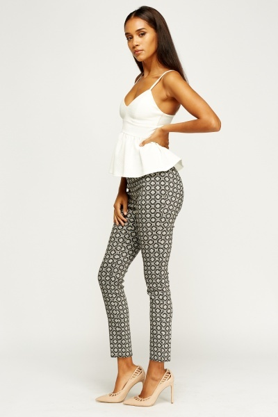 Mono Printed Cigarette Trousers