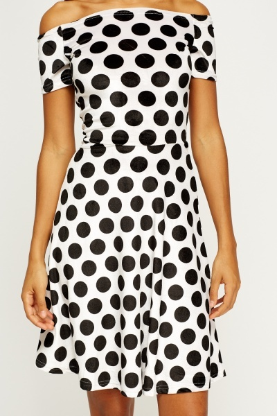 Off Shoulder Polka Dot Skater Dress