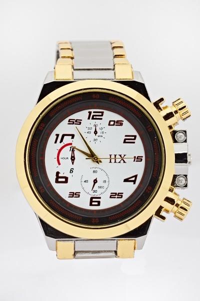 Contrast Metal Strap Watch