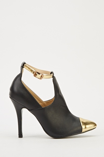 Faux Leather Court Ankle Strap Sandal Heel