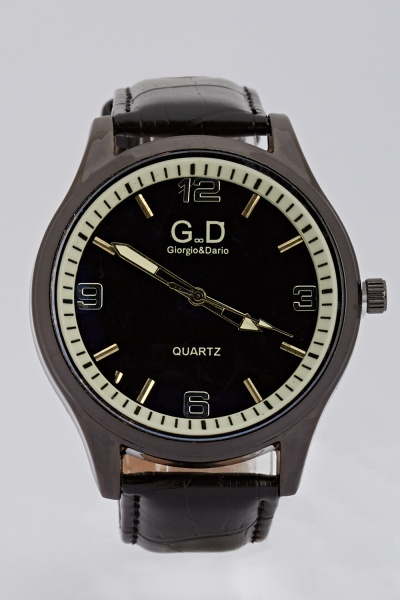 Mens Faux Leather Watch