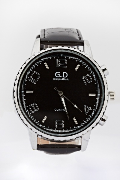 Mens Large Faux Leather Strap Watch