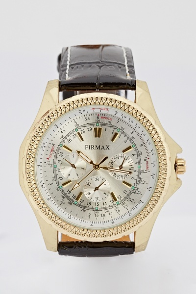 Textured Strap Faux Leather Watch