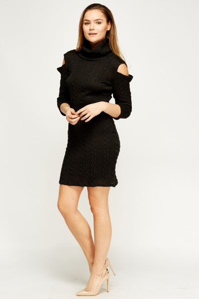 Cable Knit Low Back Dress