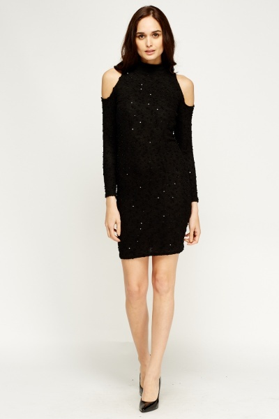 Cut Out Shoulder Sequin Black Dress