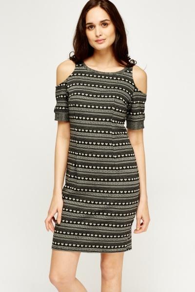 Image of Mixed Print Cold Shoulder Dress