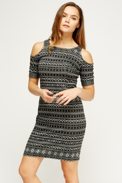 Cold Shoulder Aztec Striped Dress