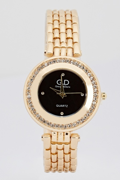 Image of Encrusted Face Chained Watch