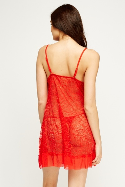 Lace Ruched Chemise And Thong Set