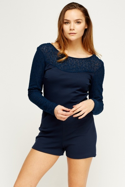 Mesh Insert Navy Playsuit