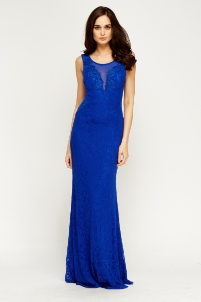 Mesh Overlay Sweetheart Maxi Dress