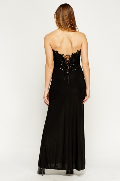 Sequin Embellished Bandeau Maxi Dress