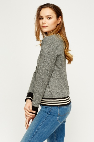 Striped Hem Grey Jumper