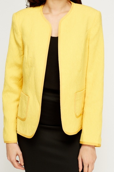 Textured Open Front Jacket