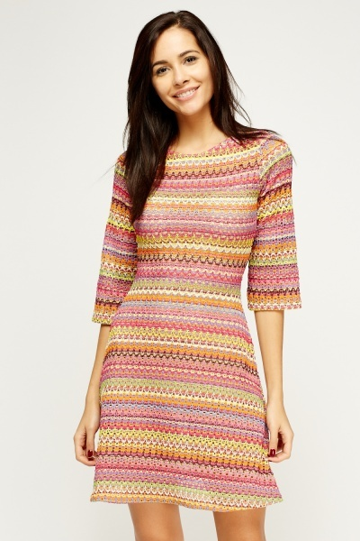 Multi Stitched Embroidered Skater Dress