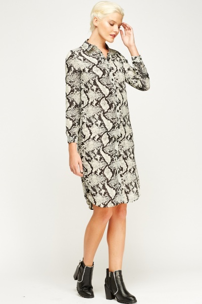 Animal Print Long Shirt Dress