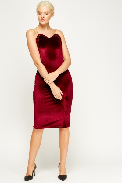Chain Straps Velveteen Midi Dress