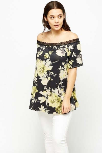 Lace Trim Off Shoulder Floral Top