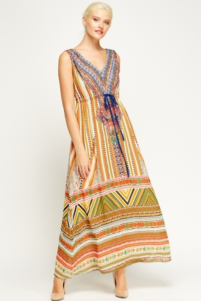 Mix Printed Maxi Dress