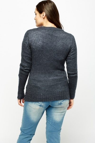 Navy Loose Knit Cardigan