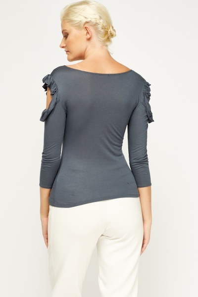 Ruffle Cut Out Shoulder Top