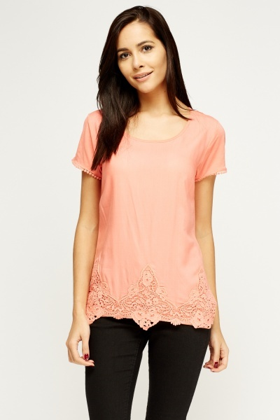 Crochet Hem Basic Top