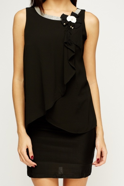 Encrusted Neck Sheer Bodice Dress