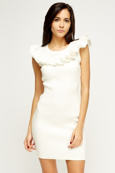 Frilled Scuba Bodycon Dress