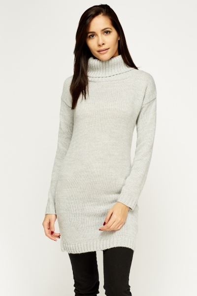 Long Knitted Roll Neck Jumper