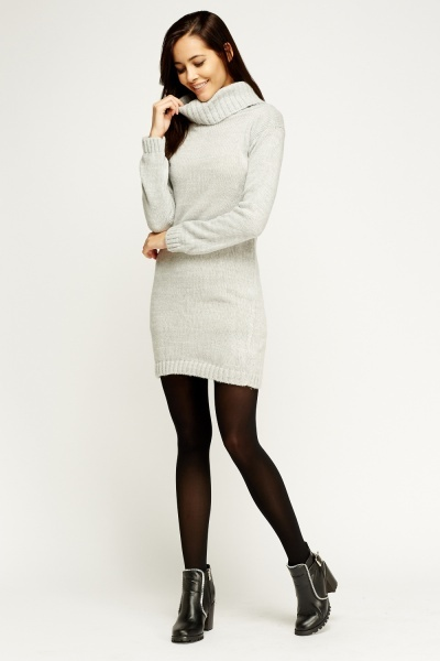 Roll Neck Knitted Jumper Dress