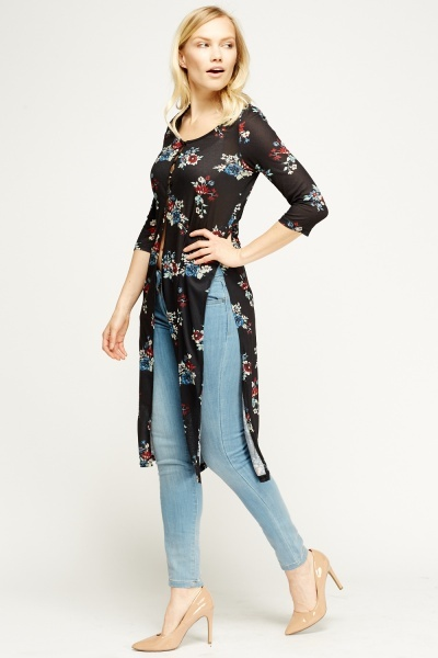 Floral Printed Long Slit Top