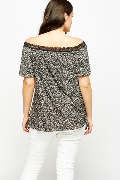 Lace Trim Off Shoulder Top