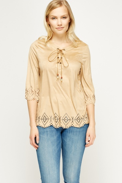 Laser Cut Trim Suedette Top