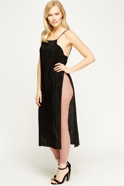 Pleated Slit Side Long Top