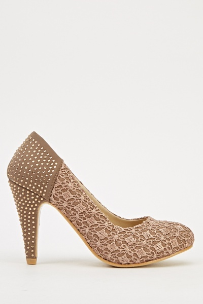 Embroidered Encrusted Mid Heels