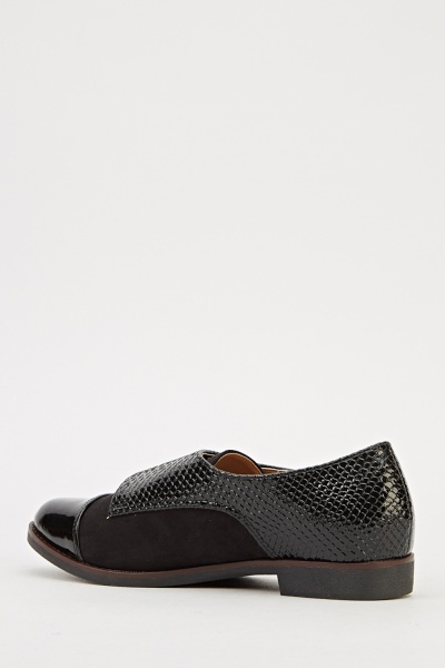 Mock Croc Buckle Wrap Brogues