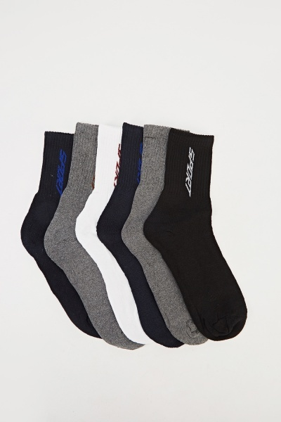 Pack Of 6 Multi Socks