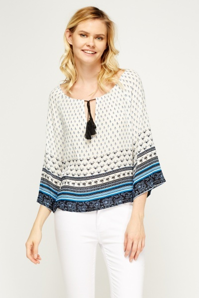 Box Printed Flare Sleeve Top