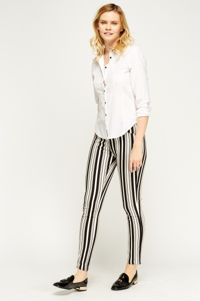 Striped Elasticated Trousers