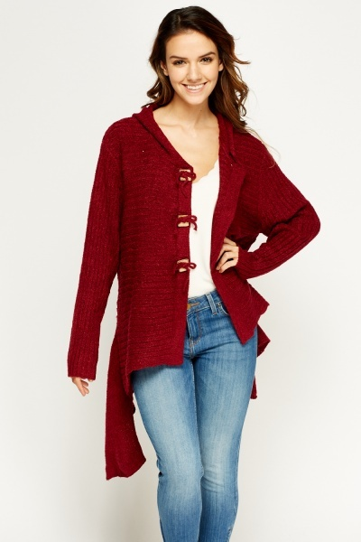 Asymmetric Knitted Hooded Cardigan