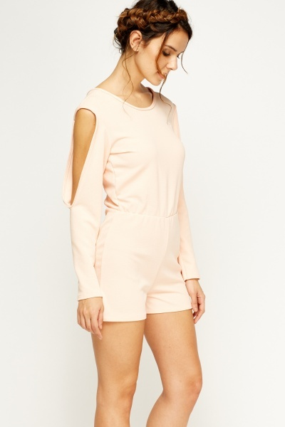 Cold Shoulder Peach Playsuit