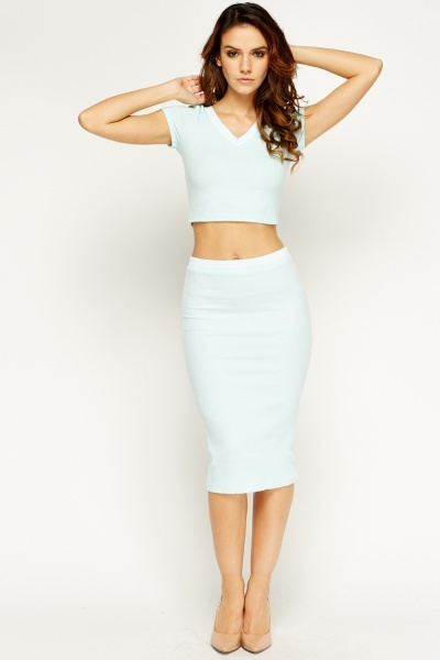 Contrast Trim Cropped Top And Skirt Set