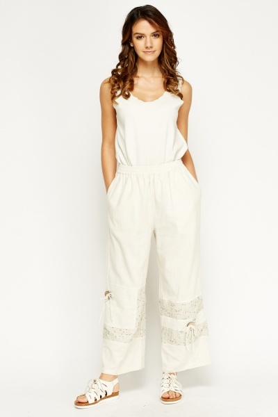 Embroidered Hem Wide Leg Trousers