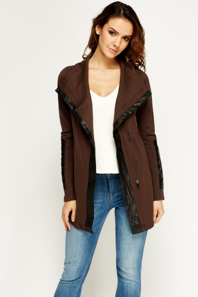Faux Leather Trim Zipped Jacket