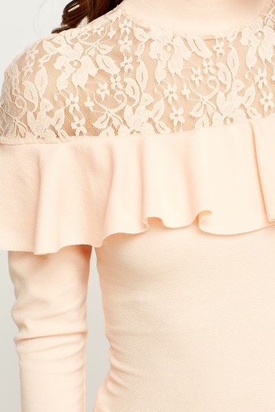 Lace Insert Flared Peach Top