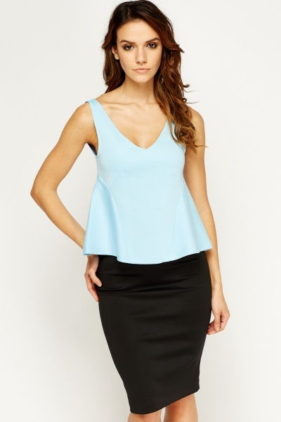 Low Neck Peplum Side Top