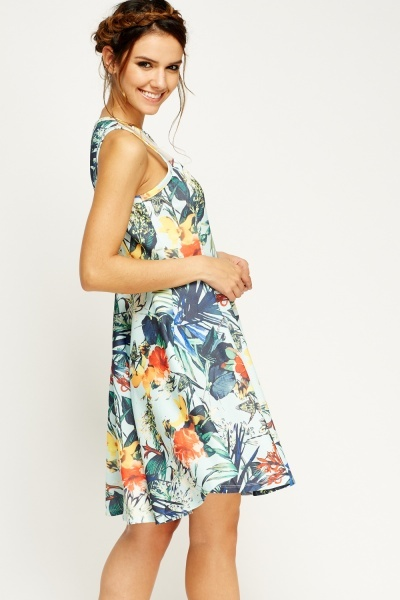 Mesh Insert Mix Print Skater Dress