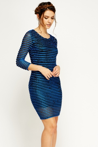 Mesh Insert Ruched Dress